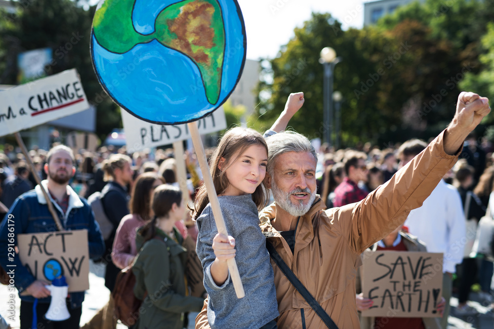 Fototapety, obrazy: People with placards and posters on global strike for climate change.