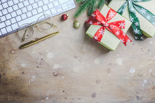Workspace In Christmas Style W...