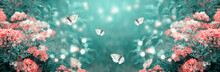 Mysterious Fairytale Spring Or Summer Fantasy Floral Banner With Blooming Rose Flowers And Flying Butterflies On Blurred Beautiful Background Toned In Soft Pastel Colors And Shiny Glowing Bokeh