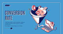 Conversion Rate Isometric Web Banner. Funnel Sales Channel, Inbound Business Marketing Buyer Conversion And Money Profit Generation Or Purchase Infochart Infographics. 3d Vector Line Art Landing Page