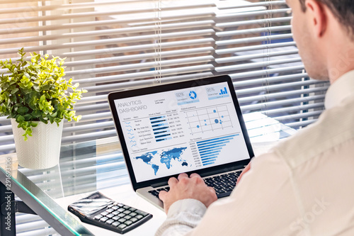 Photo Business analytics dashboard with sales performance and operations data with professional executive analyzing KPI and metrics about revenue