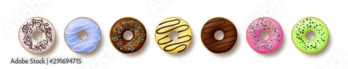 Set of colorful donuts isolated on white background Wallpaper Mural