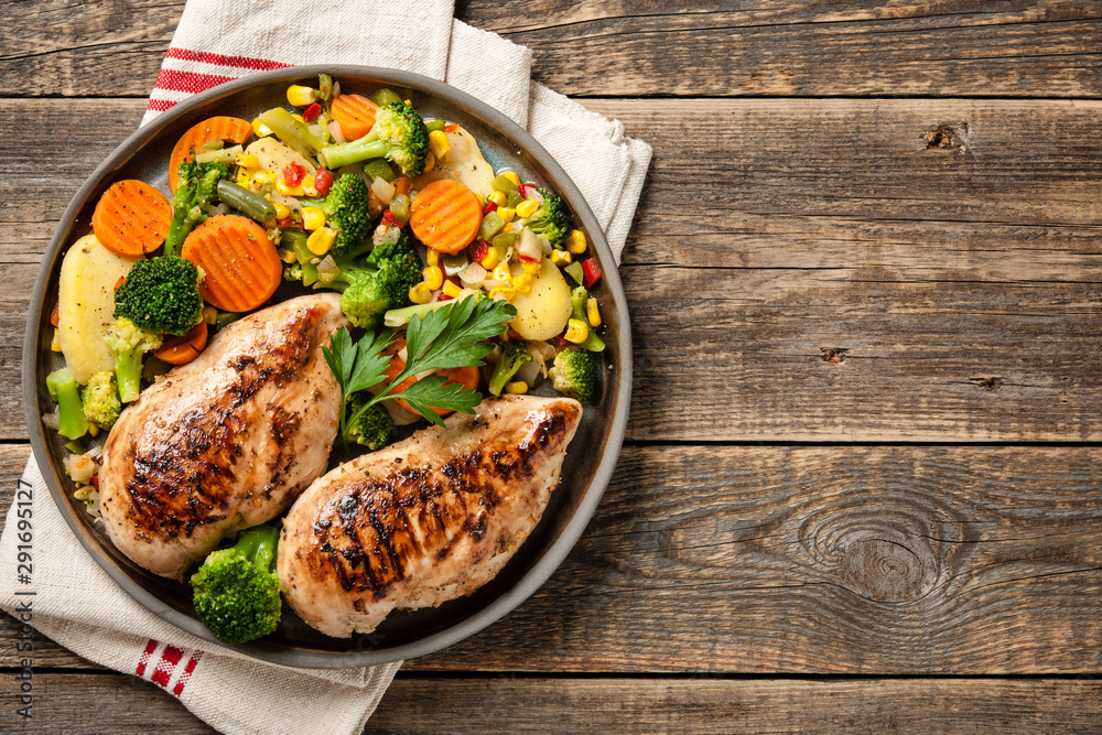 Fototapety, obrazy: Grilled chicken breasts with vegetable