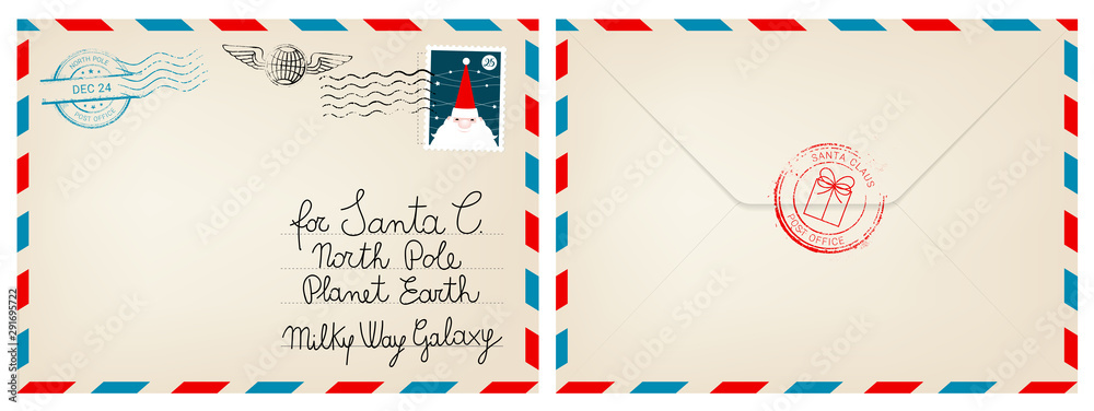 Fototapeta Dear santa claus mail envelope. Christmas surprise letter, child postcard with north pole postmark cachet vector illustration