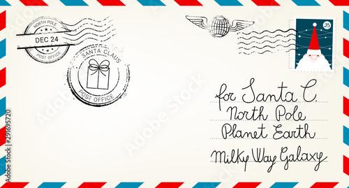 Fototapeta Dear santa claus mail envelope. Christmas surprise letter, child postcard with north pole postmark cachet vector illustration obraz