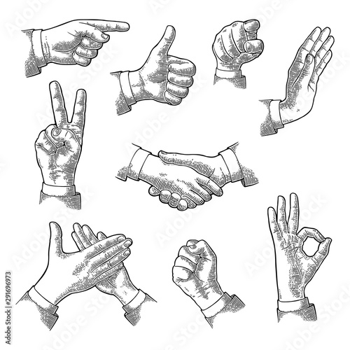 Fotografie, Obraz  Male Hand sign. Like, Handshake, Ok, Stop, Middle finger, Victory