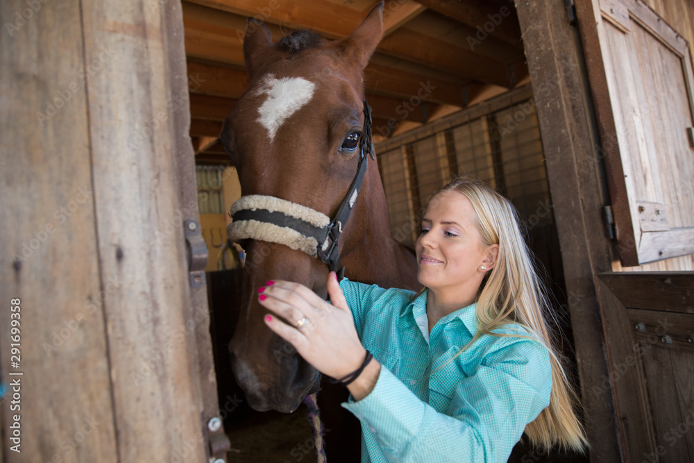 Fototapeta Young Woman and Horse at the Stables