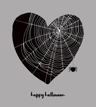 Funny Hand Drawn Halloween Vector Illustration With Black Heart Covered With White Cobweb. Black Heart And Fat Spider Isolated On A Dark Gray Background. Halloween Art For Card, Poster, Invitation.