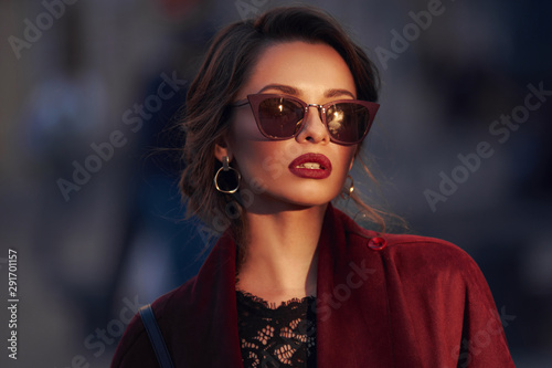Pinturas sobre lienzo  Closeup portrait of young elegant woman wearing sunglasses
