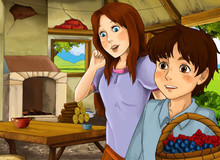 Cartoon Scene With Old Kitchen In Farm House With Happy Woman And Son - Illustration For Children