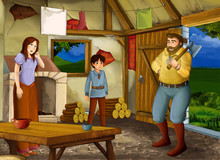 Cartoon Scene With Old Kitchen In Farm House With Happy Woman And Man Husband And Wife And Son - Illustration For Children