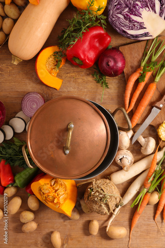 casserole with raw vegetable- vegetable soup preparation, top view Wallpaper Mural