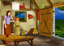 Cartoon Scene With Old Kitchen In Farm House With Happy Woman And Daughter - Illustration For Children