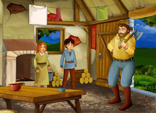 Cartoon Scene With Old Kitchen In Farm House With Happy Father Son And Daughter - Illustration For Children