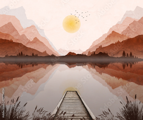 Foto auf Gartenposter Lachs Mountain landscape illustration, with setting sun and mist in valley.