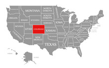 Colorado Red Highlighted In Map Of The United States Of America