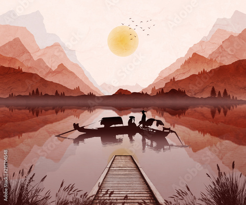 Foto auf AluDibond Lachs Oriental mountain landscape illustration, with setting sun and mist in valley. Two boats with fisherman on lake.