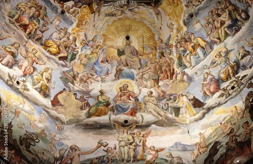Obraz na płótnie Last Judgment, fresco by Giorgio Vasari in the Cattedrale di Santa Maria del Fio