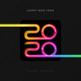 2020 new year logo. Greeting design with multicolored number of year. Design for greeting card, invitation, calendar, etc.