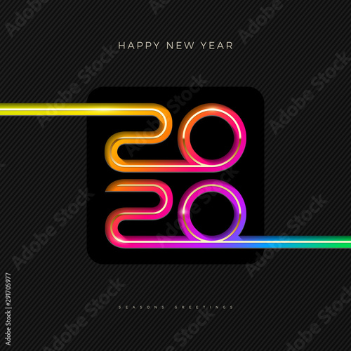 Photo sur Aluminium Graffiti collage 2020 new year logo. Greeting design with multicolored number of year. Design for greeting card, invitation, calendar, etc.