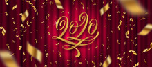 2020 New Year Greeting Design. Glitter Gold Flourishes Calligraphic 2020 Year Logo And Golden Confetti On A Red Curtain Background. Vector Illustration. Can Be Used For Greeting Card, Invitation, Cale