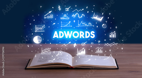 Poster Asia Country ADWORDS inscription coming out from an open book, business concept