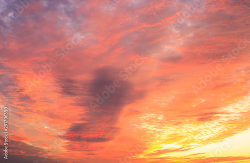 Foto auf Leinwand Koralle Sunrise on cloudscape. Morning landscape with fire clouds