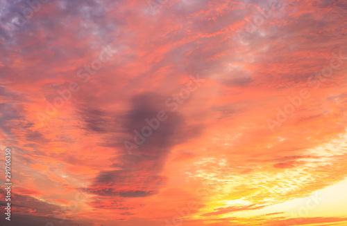 Foto auf AluDibond Koralle Sunrise on cloudscape. Morning landscape with fire clouds