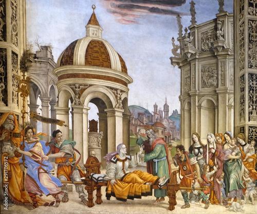 Fotografia Saint John the Evangelist Resurrecting Drusiana, fresco by Filippino Lippi in th