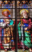 Saints Peter And Paul, Stained Glass Windows In The Saint Gervais And Saint Protais Church, Paris, France