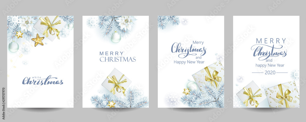 Fototapeta 4 template of Christmas cards with white spruce and gift boxes