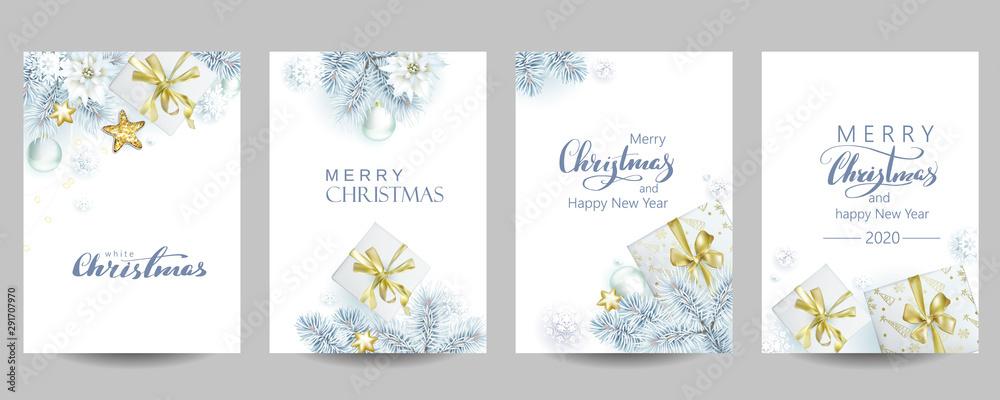 4 szablon kartek świątecznych z białymi świerkami i pudełkami prezentowymi