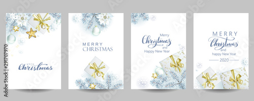 4 template of Christmas cards with white spruce and gift boxes Fotobehang