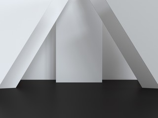 3d render scene. White walls, black floor. Mockap to represent your product. Abstract modern architecture background