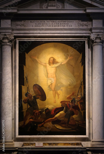 Fotografie, Obraz  Altarpiece depicting Resurrection of Christ, work by Michele Ridolfi in Cathedral of St