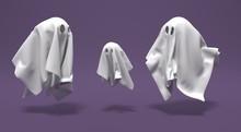 Fantômes Sur Fond Violet Pour Halloween