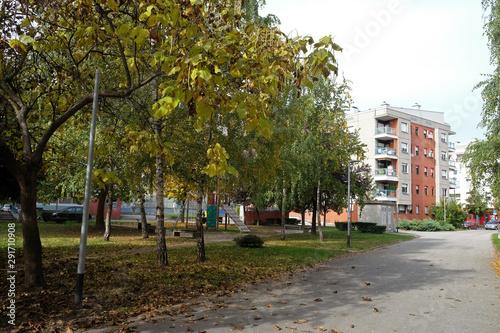 Park in Malesnica residential area, Zagreb, Croatia Canvas Print