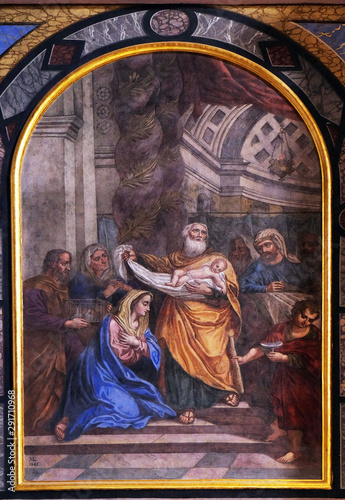 Canvas Print The Presentation of Jesus in the Temple, altarpiece in the Franciscan Church of