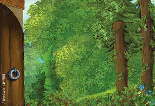 cartoon summer scene with house in the forest with opened door - nobody on scene - illustration for children