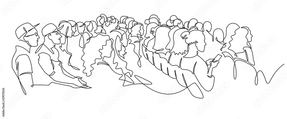 Fototapeta Continuous Line Drawing of Vector illustration character of audience in the conference hall