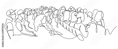 Continuous Line Drawing of Vector illustration character of audience in the conf Fototapet