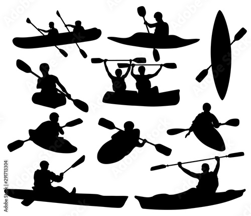Photo Set of silhouettes of people swimming in a canoe