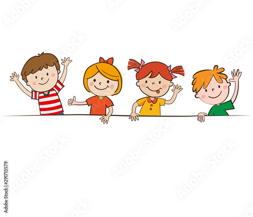 Cartoon Happy Children In White Background Holding Blank Banner Happy Kids And Banner Vector Illustration Smiling Boys And Girls With Empty Poster Hand Drawn Vector Illustration Buy This Stock Vector And