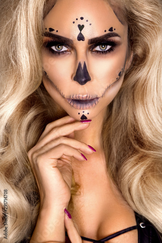 Fototapety, obrazy: Sexy witch with Halloween skeleton make up - Image
