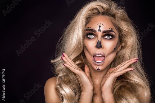 Foto auf Leinwand Friseur Sexy witch with Halloween skeleton make up - Image