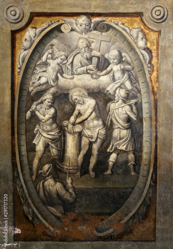 The flagellation of the Christ, by Parmigianino in the Basilica of Santa Maria d Fototapet