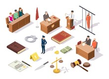 Law And Justice Isometric Icon Set, Vector Illustration