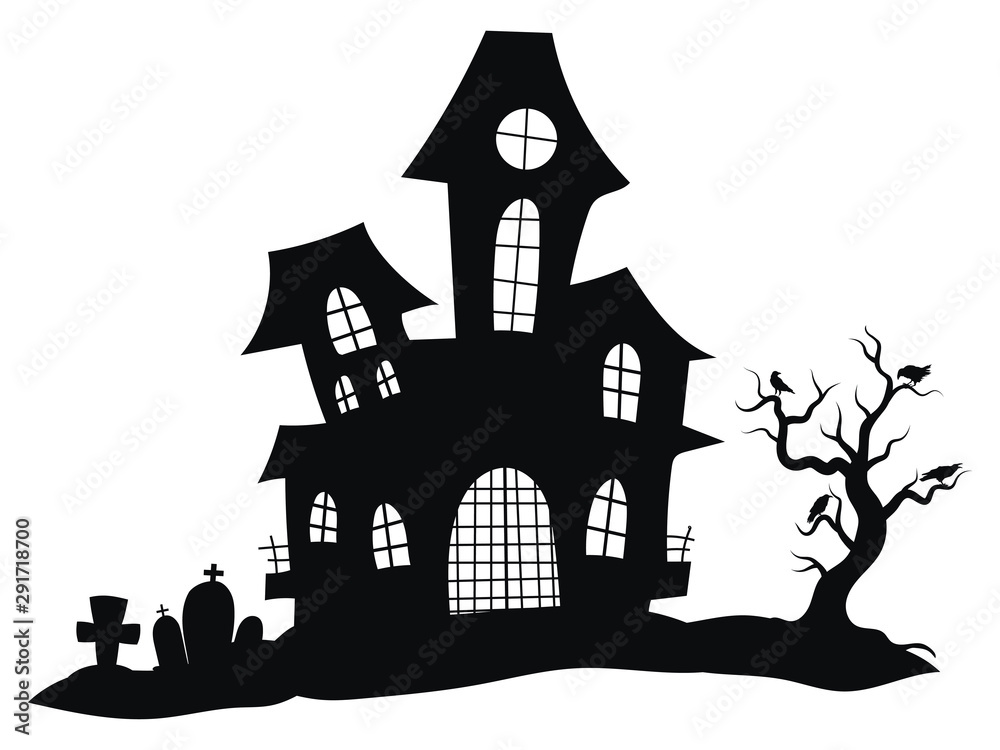 Fototapety, obrazy: Silhouette of a mystical castle. Vector illustration of a haunted house for Halloween. Tattoo.