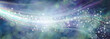 Leinwanddruck Bild - Wide blue sparkling whoosh banner background - white lines arcing across a wide blue bokeh background with sparkles and plenty of copy space for message