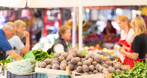 Fotografie, Obraz Farmers' market stall with variety of organic vegetable.